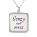 crazy about books necklace